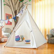 2013Newestseller Teepee Tent Kids Indian Playhouse Children Play Tent with Carry Case 5 Wooden poles for Indoor Outdoor Bedroom, Nursery, Photography Props,Raw White Canvas