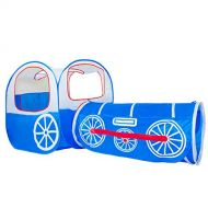 ALPIKA Train Kids Pop up Play Tent, Tunnel and Ball Pit with Storage Bag(Blue)