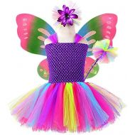 AQTOPS Little Girls Butterfly Fairy Dress Costume Halloween Role Play Outfits Set