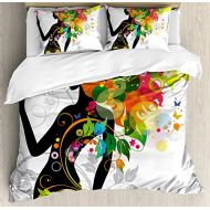Ambesonne Colorful Duvet Cover Set, Madame Butterfly Modern Version with Spring Spiral Circles Leaf Botany Girl Print, Decorative 3 Piece Bedding Set with 2 Pillow Shams, Queen Siz