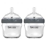 Baby Brezza Two Piece Natural Glass Baby Bottle with Lid - Ergonomic, Wide Neck Design Makes it The Easiest to Clean - Modern Look - Anti-Colic - Grey - 5 Ounce Size - 2 Bottles