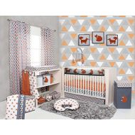 Bacati Playful Fox 10-Piece Nursery-in-A-Bag Crib Bedding Set with Long Rail Guard, OrangeGrey