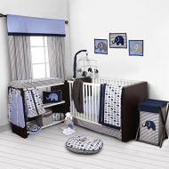 Bacati Elephants BlueGrey 10 pc Crib Set Bumperfree