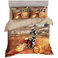 BeddingWish 3D Motorcycle Racing Printed Bedding (No Comforter and Sheet) Set for Kids Teen Boys -(3Pcs,Yellow,1 Duvet Cover+2 Pillow Shams,Twin)