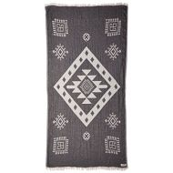 Bersuse 100% Cotton Veracrus Dual-Layer Handloom Turkish Towel-37X70 Inches, Black