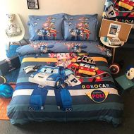 Casa 100% Cotton Kids Bedding Set Boys Robocar Poli Duvet Cover and Pillow Cases and Fitted Sheet,4 Pieces,Full