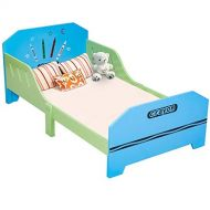 Costzon Toddler Bed, Crayon Themed Toddler Bed Frame wSafety Rail Fence