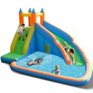 Costzon Inflatable Bounce House, Moonwalk Jumping Bouncer W Rotating Windmill Without Blower