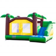 Costzon Inflatable Jungle Bounce House Jump and Slide Bouncer Castle (Bouncer with 680W Blower)
