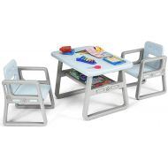 Costzon Kids Table and 2 Chair Set, Children Table Furniture with Storage Rack for Toddlers Reading, Learning, Dining, Playroom, Desk Chair for 1 to 3 Years, Activity Table Desk Se