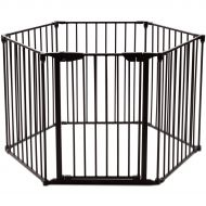 Costzon Baby Safety Gate, 4-in-1 Fireplace Fence, Wide Barrier Gate with Walk-Through Door in Two...