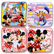 Disney Set Of 4 Mini Hand Towels For Kids. Mickey & Friends .8 x 8 (20 cm x 20 cm). (red)