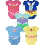 Disney Princess Baby Girls 5 Pack Bodysuits Belle Cinderella Snow White Aurora