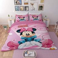 EVDAY Sweet Pink Minnie Duvet Cover Set for Girls Bed Set Including 1Duvet Cover,2Pillowcases King Queen Full Twin Size