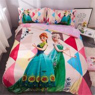 EVDAY Cute Frozen Bedding Set Winter Ultra Warm Soft Flannel Bedding for Girls Including 1Duvet Cover,1Flat Sheet,2Pillowcases Full Twin Size