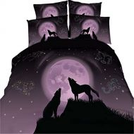EsyDream 3D Oil Constellation Moonlight Wolf Boys Bedding Sets No Comforter,Queen Size 3PC/Set(1 Duvet Cover +2 Pillowcase)