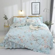 FADFAY Shabby Green Floral Bedding 100% Cotton Princess Lace Ruffle Girls Duvet Cover Set with Bedskirt, 4Pcs, Queen Size