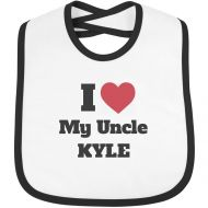 FUNNYSHIRTS.ORG I Heart My Uncle Kyle: Infant Rabbit Skins Contrast Trim Bib