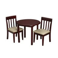 Gift Mark Childrens Round Cherry Table with 2 Matching Upholstered Chairs