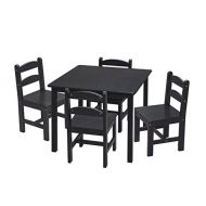 Gift Mark Square Table Set with 4 Chairs, Espresso