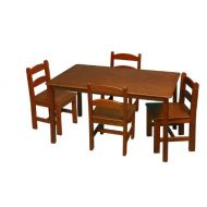 Gift Mark Rectangle Table Set with 4 Chairs, Honey