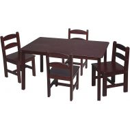 Gift Mark Rectangle Table Set with 4 Chairs, Cherry