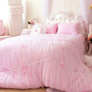 Girls bedding Sisbay Fancy Girls Bedding Set Pink,Luxury Princess Ruffle Duvet Cover,Lace Korean Wedding Bed Skirt King Size,4pcs
