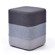 HQCC Foot Stool Wooden House Creative Small Square Fabric Footstool (Color : Gray)