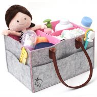 IMZ Baby Diaper & Wipes Caddy Organizier, Grey Felt with Pink Interior, Premium Nursery Storage Basket with Handle, Diaper Changing Bin, Portable Diaper Stacker, Baby Registry Must