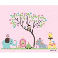 Pink Jungle Animals and Flower Leaf Tree Nursery Die Cut Wall Decals - Vinyl Wall Art Decals Stickers
