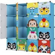 KOUSI Portable Kids Bookshelf Children Toy Organizer Multifuncation Cube Storage Shelf Cabinet Bookcase, Capacious & Study, Blue:9 Cubes