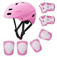 /KUYOU Kids Protective Gear Set,Roller Skating Skateboard BMX Scooter Cycling Protective Gear Pads (Knee Pads+Elbow Pads+Wrist Pads+ Helmet)