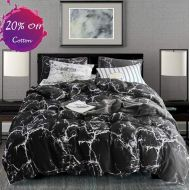 Karever karever Black Marble Duvet Cover Set Twin Kids Cotton Bedding White Texture Pattern Printed on Black Comforter Cover Sets for Boys Girls