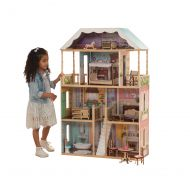 KidKraft Charlotte Classic Wooden Dollhouse with EZ Kraft Assembly, 14-Piece Accessory Set, for 12-Inch Dolls