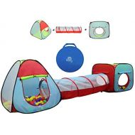Kiddey Children's Dual Play Tent with Tunnel (3-Piece Set)  IndoorOutdoor Playhouse for Boys and Girls  Lightweight, Easy to Setup (3 Pc. Tent)