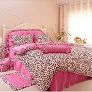 LELVA Pink Leopard Print Princess Bedding Sets, Cotton Ruffle Bedding Set, Bedding Sets Korea, Bedding for Girls, Bed Skirt Design,Twin/Full/Queen/King Size (Queen)
