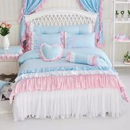 LELVA Solid Color Ruffle Wrinkle Duvet Cover Set Twin 4 Piece Lace Bed Skirt Cotton Princess Bedding for Girls Pink