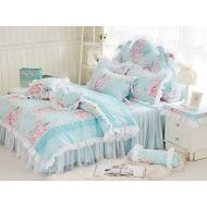 LELVA Romantic Rose Flower Print Bedding for Girls Floral Bed Skirt Set 4 Piece Princess Lace Ruffle Duvet Cover Set Full Blue