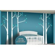 Large Birch Tree Wall Sticker Set - Woodland Forest Nursery Decor Wall Decals