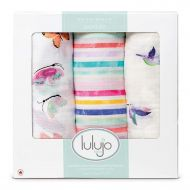 Lulujo Baby Set of 3 Deluxe Muslin Swaddle Blankets, High in The Sky, 47 x 47-Inch