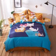 Mbay Cat Duvet Cover Queen Size, Children Girls Cotton Bed Sheet, Winter Warm Orange Blue Bedding, 4pcs
