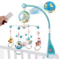 Mini Tudou Baby Musical Crib Mobile with Projection Function and Night Light,Hanging Rotating Teether Rattle and 150 Melodies Music Box with Remote Control,Toy for Newborn 0-24 Months