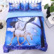 Nice Wowelife 3D Queen Fly Unicorn Comforter Sets 5 Piece Girl Bedding Set Unicorn Green Bedspreads with Comforter, Flat Sheet, Fitted Sheet and 2 Pillow Cases for Teens(Green Unicorn,