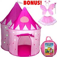Playz 5-Piece Princess Castle Girls Play Tent w Glow in The Dark Stars & Butterfly Fairy Dress up Costume - Childrens Play Tents for Indoor & Outdoor Use with Pink Girls Playhouse Fairy