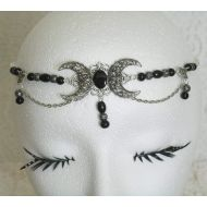 Sheekydoodle Black Onyx Triple Moon Circlet handmade jewelry wiccan pagan wicca witch witchcraft goddess gothic