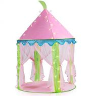 Sonyabecca Princess Castle Tent Lingt Up Tent for Girls Pop up Tent Pink with 16ft Snowflake LED Light
