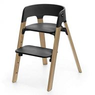 Stokke Steps Chair Complete, Natural Oak Legs and Black Seat