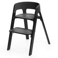 Stokke Steps 5-in-1 Adjustable Baby High Chair, Black Oak Legs and Black Seat (Chair Only)
