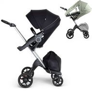 Stokke Xplory V6 Silver Chassis Stroller with Black Leatherette Handle, Black with Summer Kit, Flora Green