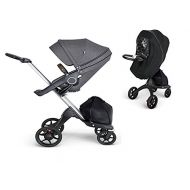 Stokke Xplory V6 Silver Chassis Stroller with Black Leatherette Handle, Grey Melange With Raincover